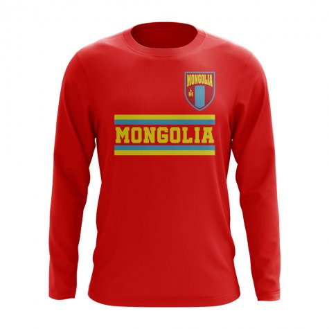 Mongolia Core Football Country Long Sleeve T-Shirt (Red)