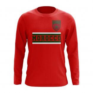 Morocco Core Football Country Long Sleeve T-Shirt (Red)