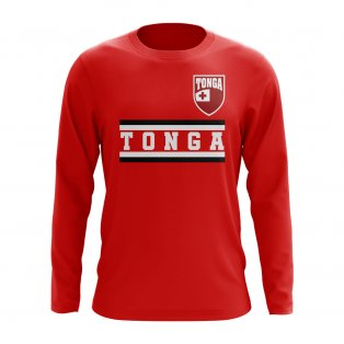Tonga Core Football Country Long Sleeve T-Shirt (Red)