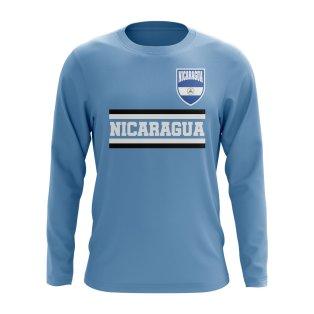 Nicaragua Core Football Country Long Sleeve T-Shirt (Sky)