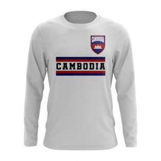 Cambodia Core Football Country Long Sleeve T-Shirt (White)