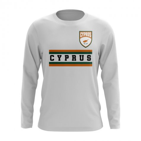 Cyprus Core Football Country Long Sleeve T-Shirt (White)
