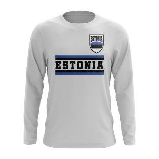 Estonia Core Football Country Long Sleeve T-Shirt (White)