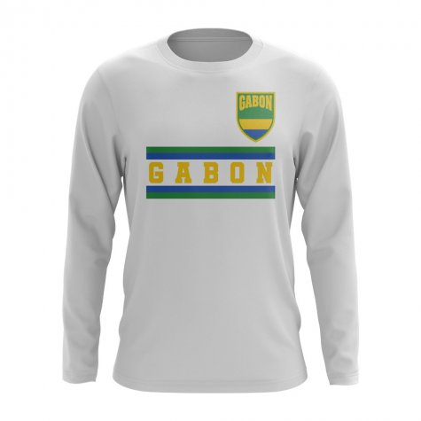 Gabon Core Football Country Long Sleeve T-Shirt (White)