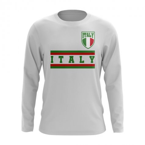 Italy Core Football Country Long Sleeve T-Shirt (White)