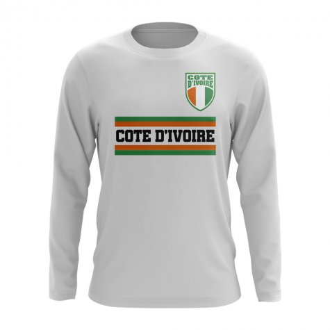Ivory Coast Core Football Country Long Sleeve T-Shirt (White)