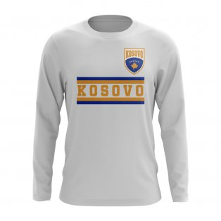 Kosovo Core Football Country Long Sleeve T-Shirt (White)