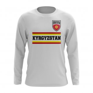 Kyrgyzstan Core Football Country Long Sleeve T-Shirt (White)