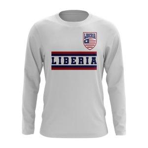 Liberia Core Football Country Long Sleeve T-Shirt (White)