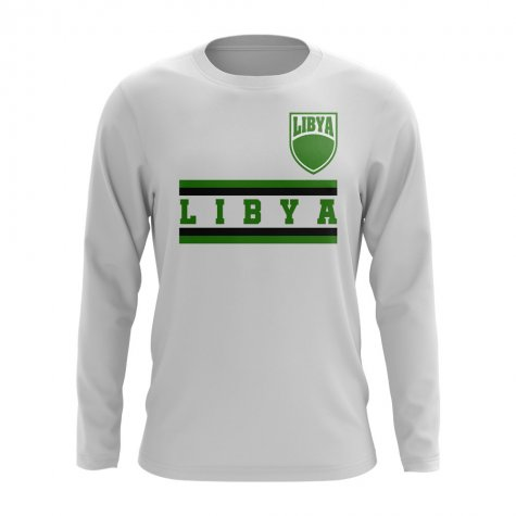 Libya Core Football Country Long Sleeve T-Shirt (White)