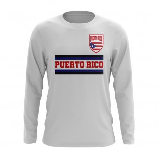 Puerto Rico Core Football Country Long Sleeve T-Shirt (White)