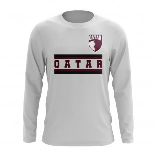 Qatar Core Football Country Long Sleeve T-Shirt (White)
