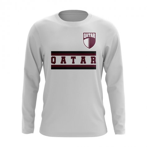 Qatar Core Football Country Long Sleeve T-Shirt (White)
