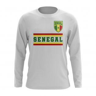 Senegal Core Football Country Long Sleeve T-Shirt (White)
