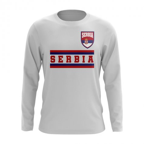 Serbia Core Football Country Long Sleeve T-Shirt (White)