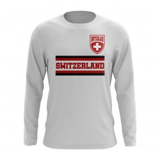 Switzerland Core Football Country Long Sleeve T-Shirt (White)