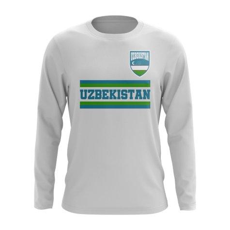 Uzbekistan Core Football Country Long Sleeve T-Shirt (White)