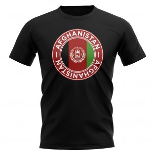 Afghanistan Football Badge T-Shirt (Black)