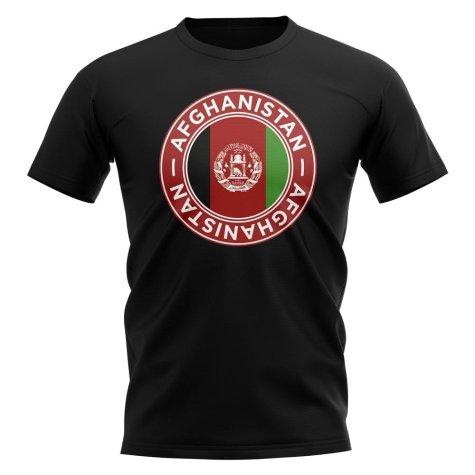 Afghanistan Football Badge T-Shirt (Black)