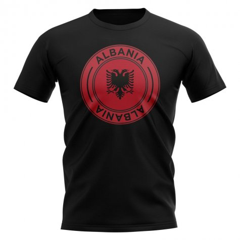 Albania Football Badge T-Shirt (Black)