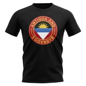 Antigua and Barbados Football Badge T-Shirt (Black)