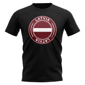 Latvia Football Badge T-Shirt (Black)