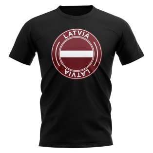 Latvia Football Badge T-Shirt (Black)