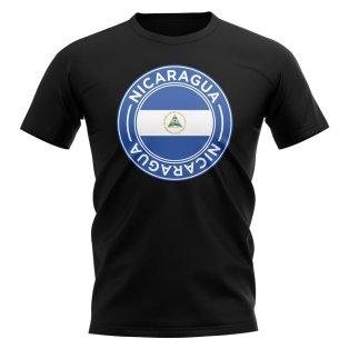 Nicaragua Football Badge T-Shirt (Black)