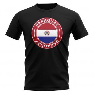 Paraguay Football Badge T-Shirt (Black)