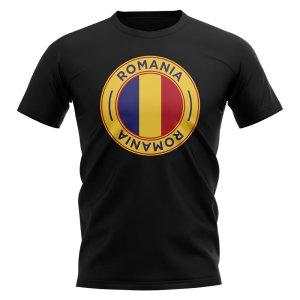 Romania Football Badge T-Shirt (Black)