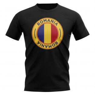 Romania Football Badge T-Shirt (Black)