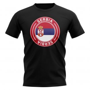 Serbia Football Badge T-Shirt (Black)