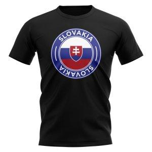 Slovakia Football Badge T-Shirt (Black)