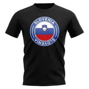 Slovenia Football Badge T-Shirt (Black)