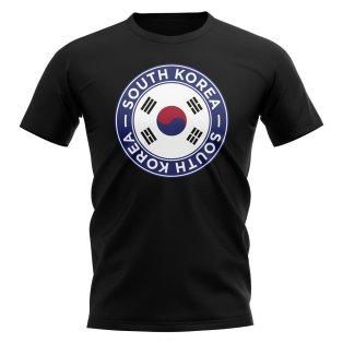 South Korea Football Badge T-Shirt (Black)
