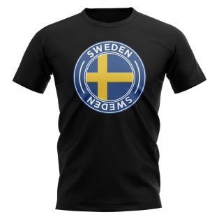 Sweden Football Badge T-Shirt (Black)