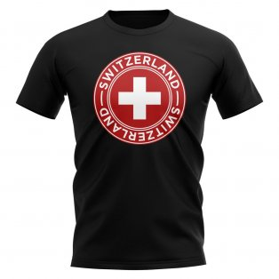Switzerland Football Badge T-Shirt (Black)