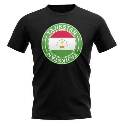 Tajikstan Football Badge T-Shirt (Black)