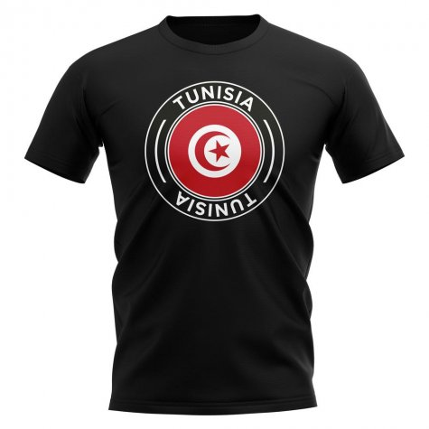 Tunisia Football Badge T-Shirt (Black)