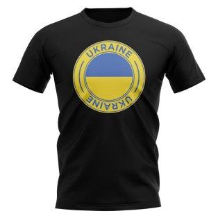 Ukraine Football Badge T-Shirt (Black)
