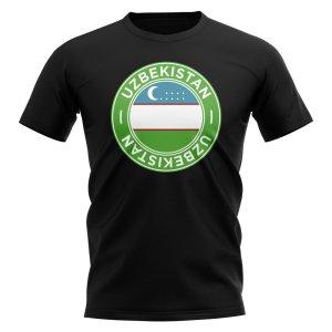 Uzbekistan Football Badge T-Shirt (Black)