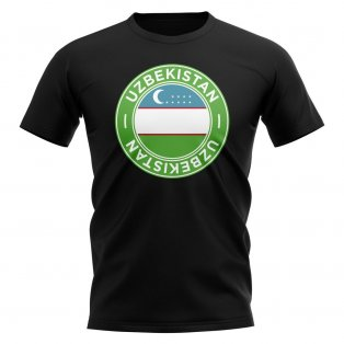 Uzbekistan Football Badge T-Shirt (Black)