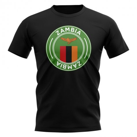Zambia Football Badge T-Shirt (Black)