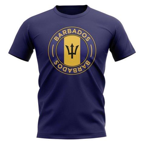 Barbados Football Badge T-Shirt (Navy)