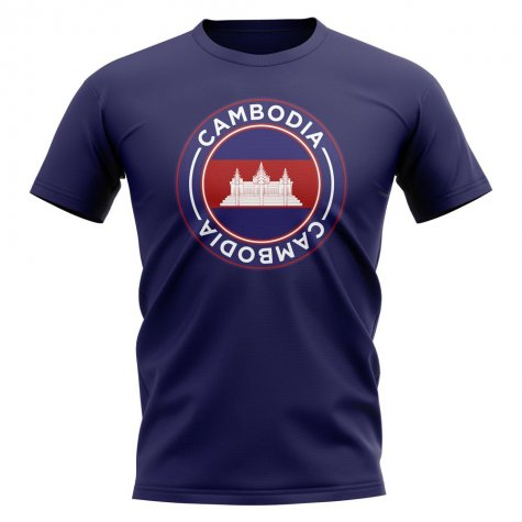 Cambodia Football Badge T-Shirt (Navy)