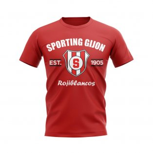 Sporting Gijon Established Football T-Shirt (Red)
