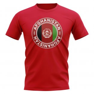 Afghanistan Football Badge T-Shirt (Red)