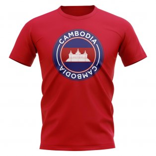 Cambodia Football Badge T-Shirt (Red)