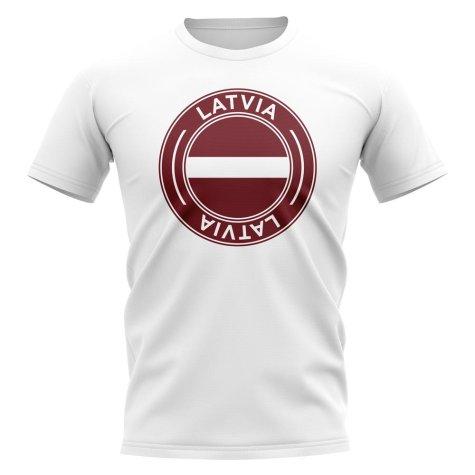 Latvia Football Badge T-Shirt (White)