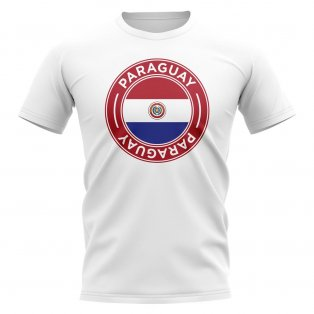 Paraguay Football Badge T-Shirt (White)